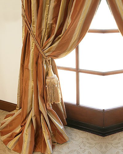 Hand Made Striped Silk Taffeta Drapery And Roman Blinds On